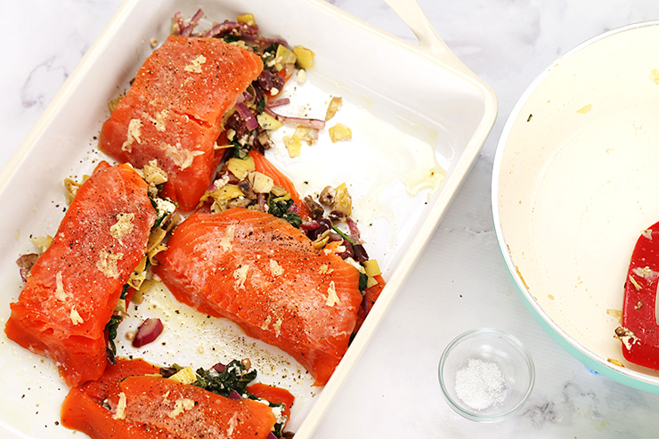Greek Stuffed Salmon with Tzatziki Sauce | Alaska Home Pack