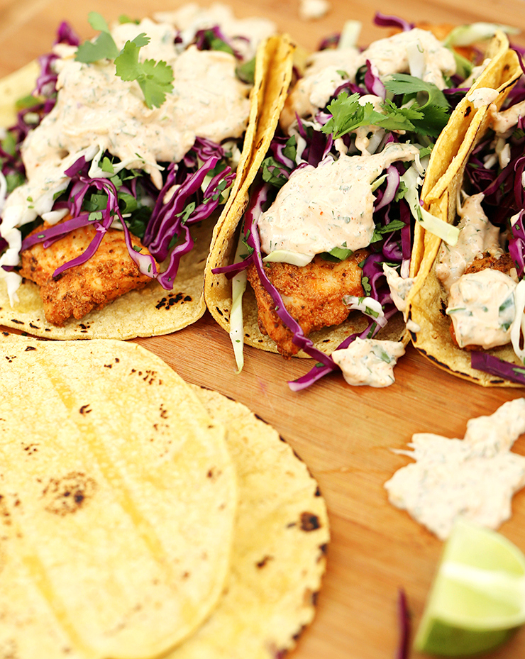 Halibut Tacos with Cilantro Lime Sauce | Alaska Home Pack